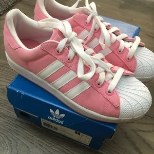 Adidas Superstar 2 Pink Canvas White Shell Toe 8.5